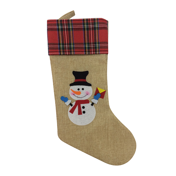 Scottish Snowman Pattern Christmas Stocking