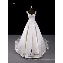 Weiße Bänder bördeln BH Brautkleid mit Ballkleid Saum