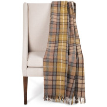 Woven Tartan Wool Blanket Fringed Throw