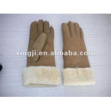 diseño personalizado color natural Guante real piel de cordero para mujer