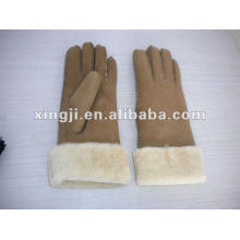 natural color customized design Real lamb fur glove for wome