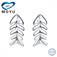 Stock 100% latest earring Design Genuine 925 solid silver fish bone earring
