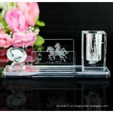 Pote de cristal de vidro óptico pote barato suporte de caneta de cristal