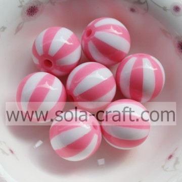 2014 20MM attraktive Fashion Pink Watermelon gestreiften Alibaba losen Spacer Charme Resin Perlen mit Loch In Mitte CZ gebohrt