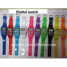 silicone colorful promotional gift digital watch with caculator