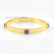 925 brazaletes de plata, oro 18k púrpura púrpura turquesa gemela brazalete de joyería para las mujeres