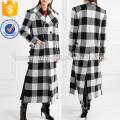 Checked wWool-gabardine Coat Manufacture Wholesale Fashion Women Apparel (TA3001C)