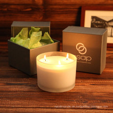 Exquisite Mode Glas Jar Soy Candle als Geschenk in Box