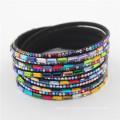 Wholesale Best Gift Latest Wrap Crystal Fashion Bracelets Leather