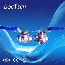 Válvula de esfera de 3 vias com alta montagem feita na China