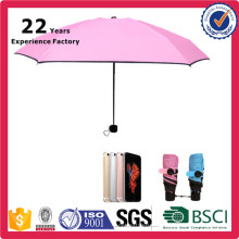 Sun Parasols Pink Ladies Mini UV Protection 5 Fold Pocket Umbrella From China Factory