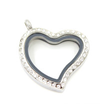 fashion Silver Plated Heart Shaped Crystal Glass Locket