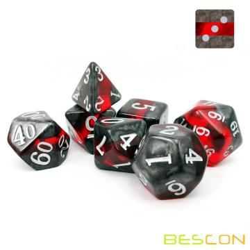 Bescon Mineral Rocks GEM VINES Polyèdrique D&D Dice Set de 7, RPG Jeu de rôle Dice 7pcs Set de RUBY