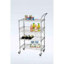 NSF Chrome-Plated Metal Wire Restaurant Food Transport Trolley Cart