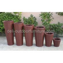 Outdoor Garden Pe Rattan Round Design Flower Pot Basket
