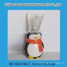 Ceramic hand painted penguin pattern ceramic kitchen tools holder