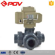 высокое качество сделано в Китае Тип соединение 3 способ моторизованный шариковый клапан upvc пластичная
