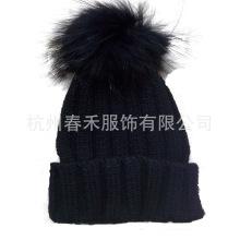 Mulheres Estilo Novo Knitted Chapéu De Lã / chapéu Crochet com POM Poms Peles / Hat Beanie Malha com POM POM POM