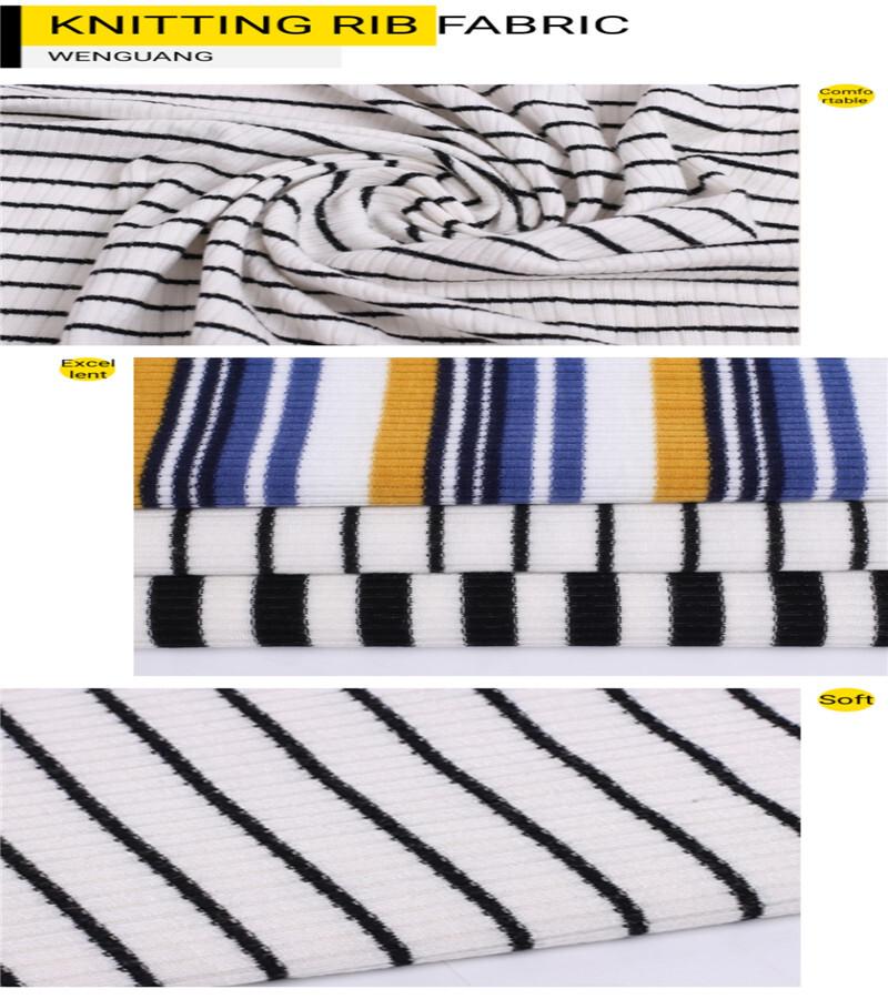 stripe knitted rib polyester fabrics