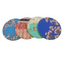 Digital Printed PU Leather Faux For Tea Coaster