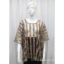 Senhora moda paisley impresso poliéster de malha oco t-shirt (yky2206)