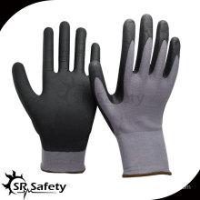 SRSAFETY 15G knitted nylon & spandex glove,coated black foam nitrile gloves
