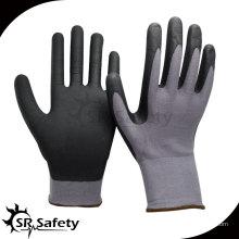 SRSAFETY 15G вязаная перчатка из нейлона и спандекса, перчатки из нитриловой нити с покрытием из черной пены
