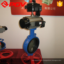 viton wafer type butterfly valves with pneumatic actuator