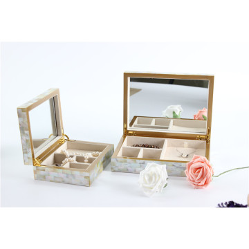 Golden Lip Shell Mirror Jewelry Box for Home Decor