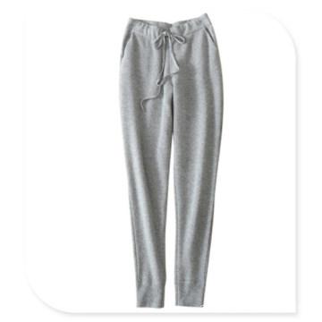 Mulheres 100% Cashmere Knitting Leggings Casual Calças com Cinto