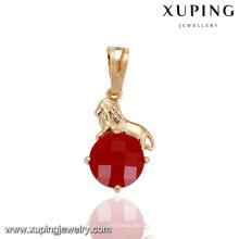 32875 Xuping colgante de lujo de oro de grado superior pavimenta diseños de joyas de oro de un solo rubí