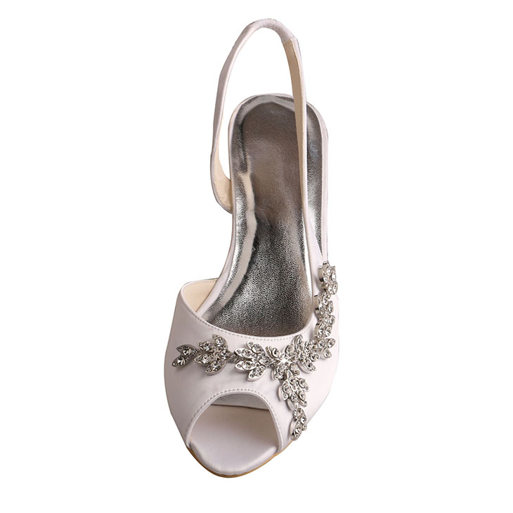 Wedge Bridesmaid Shoes Sandals Silver Peep Toe