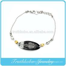 Shiny polishing laser cut high quality christianity jewelry stainless steel Mary pendant religious 2 tone bracelet
