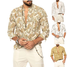 2021 Summer Fashion V-Neck Beach Style Men's Button Shirt