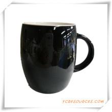 Color negro esmaltado gres taza de café Ha08004 para la promoción