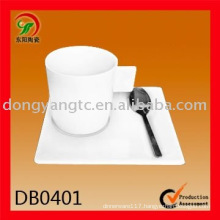 White ceramic square shaped cup and saucer