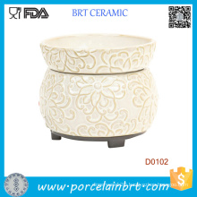 Cream Floral Wax Candle Warmer Electric Oil Burner