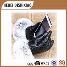 Señoras de moda de piel de oveja de cuero guantes de invierno / señora pantalla táctil guantes