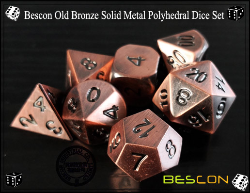Bescon Old Bronze Solid Metal Polyhedral Dice Set-6