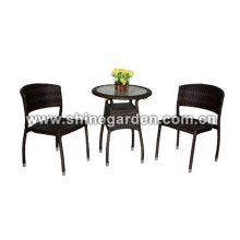 3 Stück Patio Wicker Tisch und Stuhl / Dining Set