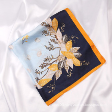 Wholesale Women Fashion Polyester Silk Neck Scarf Flower Design Satin Head Decoration Scarves