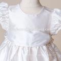 Recém-nascidos Baptizado crescido Roupas de Cetim De Seda Com Rosa Roxo Branco Caixilhos Batismo Vestido para Meninas Infantis Pageant Vestidos