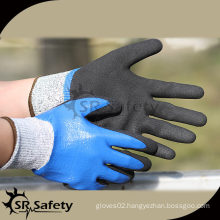 SRSAFETY 13G gauge black nylon and glassfibre liner full coated double layer nitrile, safety working gloves with cut resistant