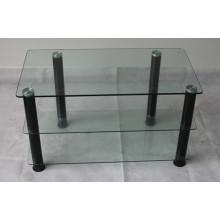 3 estantes Soporte para TV de vidrio transparente