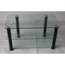 3 Shelves Clear Glass TV Stand