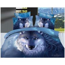 100% algodón 40s 133 * 72 reactivo impreso lobo 3d hojas de cama
