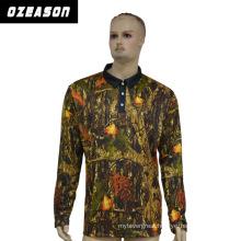 Fashion Design Sports Wear Polyester Polo Shirt, Men Long Sleeves Polo Shirt