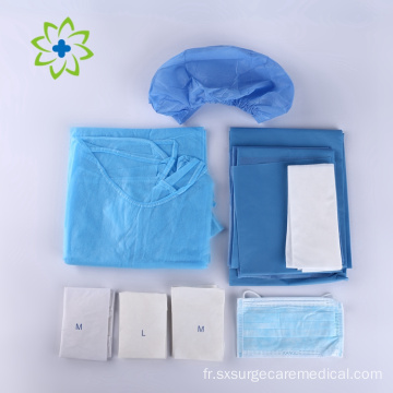 Pack chirurgical dentaire stérile jetable avec masque facial