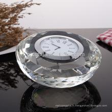 Horloge en verre de cristal de forme ronde originale pour la décoration