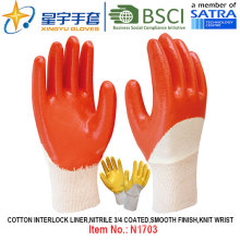 Cotton Interlock Shell Nitrile Coated Safety Work Gloves (N1703)